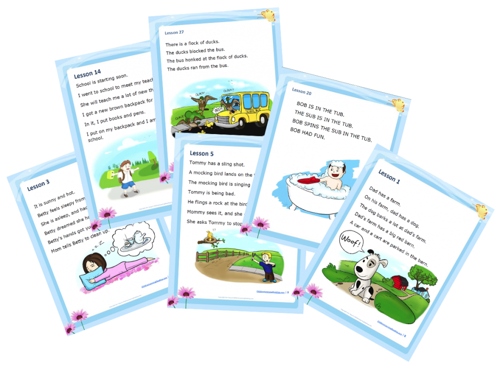 Children Learning Reading Story Pages