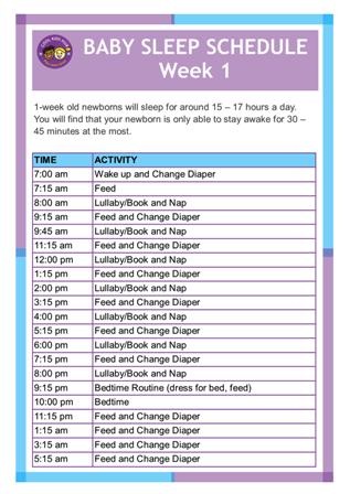 Newborn Sleep Schedule Printable
