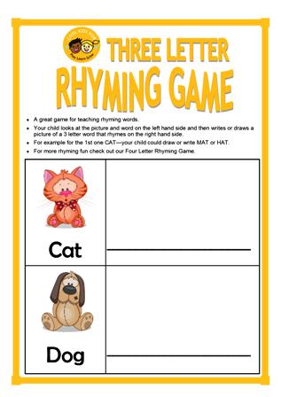 3 Letter Rhyming Game