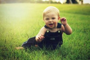 Baby on lawn